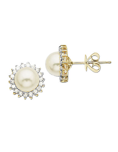 LORD & TAYLOR 14 Kt. Gold Diamond & Freshwater Pearl Earrings