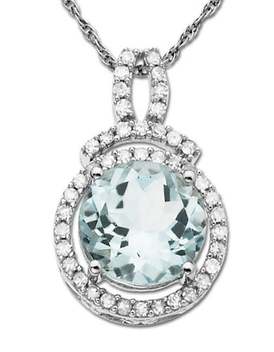 LORD & TAYLOR 14 Kt. White Gold Aqua and Diamond Necklace .19ct. t.w.