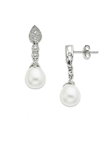 LORD & TAYLOR 14 Kt. White Gold Freshwater Pearl & Diamond Drop Earrings, 8mm x 10mm