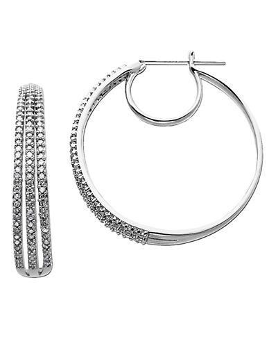 LORD & TAYLOR14 Kt White Gold 3 Row 0.50 ct t w Diamond Hoop Earrings