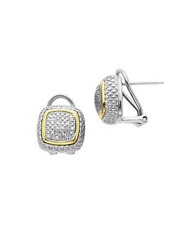 LORD & TAYLOR 14 Kt. Gold and Sterling Silver Diamond Pave Stud Earrings