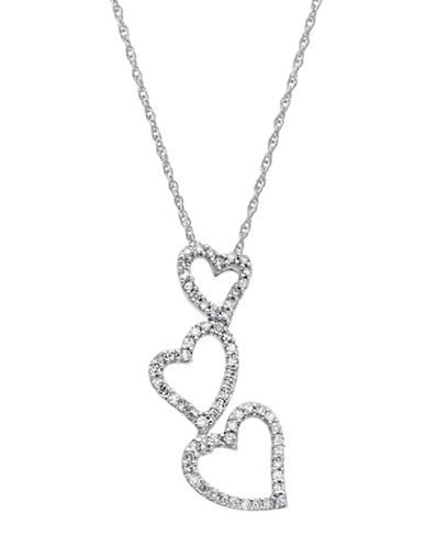LORD & TAYLOR14 Kt. White Gold Diamond Heart Drop Necklace