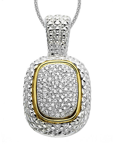 LORD & TAYLOR14 Kt. Gold and Sterling Silver Diamond Pave Necklace