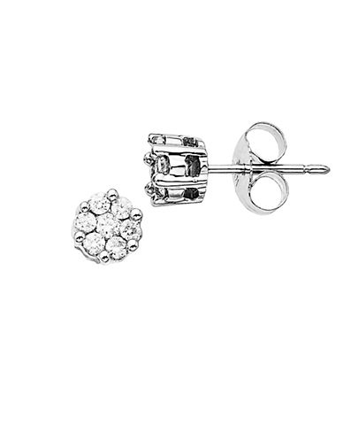 LORD & TAYLOR 14 Kt White Gold 0.25 ct t w Diamond Pave Stud Earrings