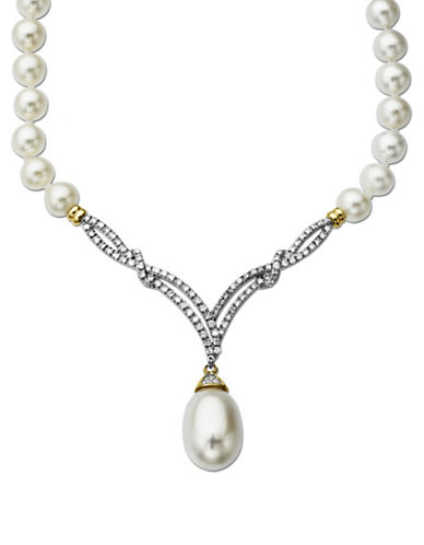 Lord & Taylor Freshwater Pearl Necklace with Diamonds in 14 Kt. Yellow Gold 0.3 ct. t.w.