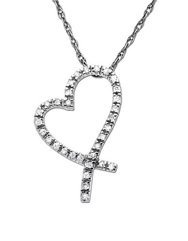 LORD & TAYLOR Diamond Heart Pendant in White Gold