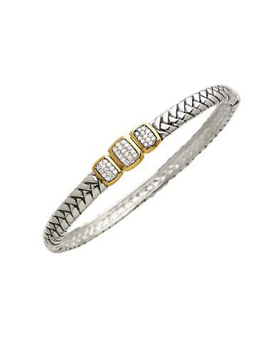 Lord & Taylor Sterling Silver and 14 Kt. Gold Diamond Bangle Bracelet