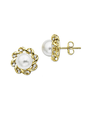 LORD & TAYLOR Freshwater Pearl Earrings with Diamonds in 14 Kt. Yellow Gold 5mm