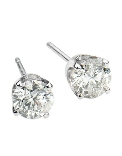 LORD & TAYLOR 14 Kt White Gold Round Cut 0.25 ct Diamond Stud Earrings