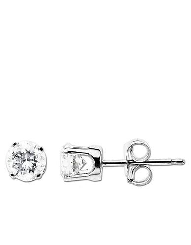 LORD & TAYLOR 14 Kt. White Gold Round Diamond Stud Earrings, 0.75 CT TW