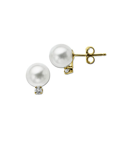 LORD & TAYLOR 14 Kt. Yellow Gold Pearl Stud Earrings with Diamonds