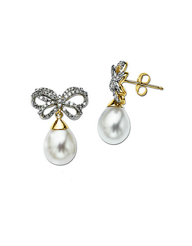 LORD & TAYLOR Pearl & Diamond Drop Earrings in 14 Kt. Yellow Gold, 8mm x 10mm