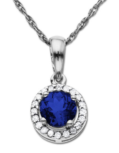 LORD & TAYLOR Sapphire and Diamond Pendant in 14 Kt. White Gold, .06 ct. t.w.