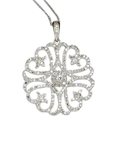 LORD & TAYLOR 14 Kt. White Gold Diamond Pendant Necklace