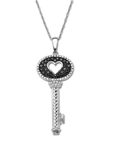 LORD & TAYLORSterling Silver Key Pendant with Black Diamonds 0.25 ct. t.w.