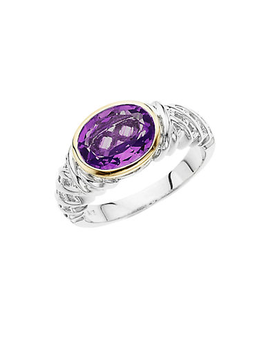 LORD & TAYLOR Sterling Silver & 14 Kt. Yellow Gold Amethyst Ring