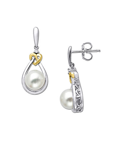 LORD & TAYLOR Sterling Silver with 14 Kt. Yellow Gold Pearl and Diamond Accent Earring, .02CTW