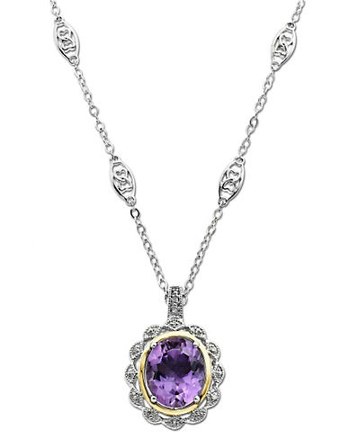 LORD & TAYLORSterling Silver and 14 Kt Yellow Gold Amethyst Pendant with Diamond Frame