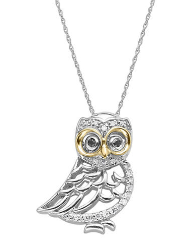 LORD & TAYLOR Diamond Owl Pendant in Sterling Silver with 14 Kt. Yellow Gold