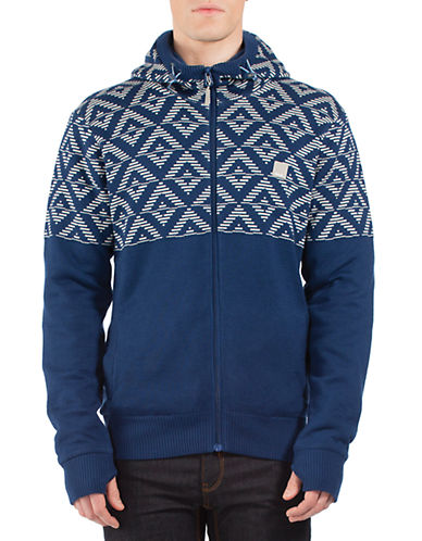 BENCH Regular Fit Gripper Placed Geo Print Zip Hoodie