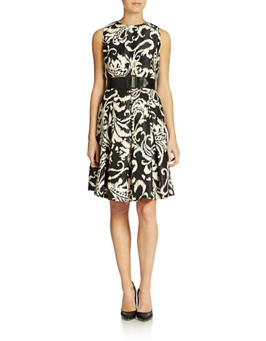 CHETTA B Belted Fit-and-Flare Dress