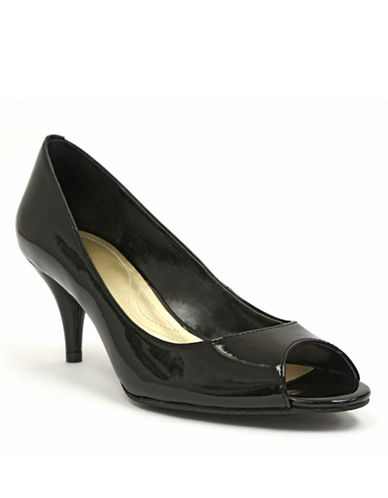 TAHARI Marie Patent Leather Open-Toe Pumps