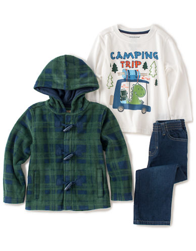 KIDS HEADQUARTERSBoys 2-7 Plaid Fleece Jacket with Camping Trip Tee and Jeans