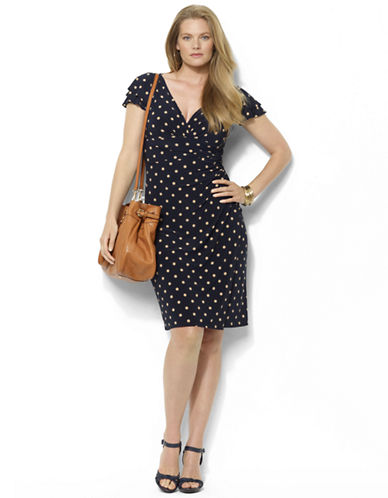Plus-Size Polka-Dot Matte Jersey Empire Dress