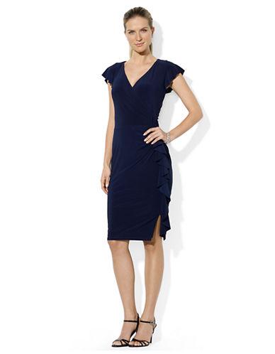Shop Lauren Ralph Lauren online and buy Lauren Ralph Lauren Ruffled Cap Sleeved Dress dress online