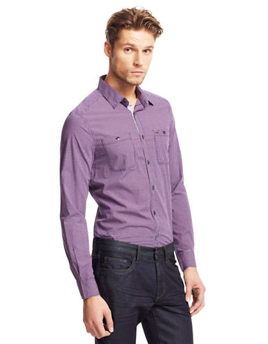 KENNETH COLE NEW YORK Saturated Check Poplin Sport Shirt