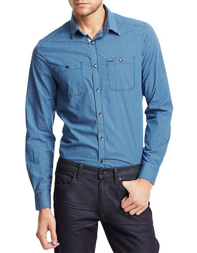 KENNETH COLE NEW YORKSaturated Check Poplin Sport Shirt