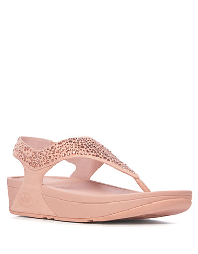 FITFLOP Flare TM Embellished Suede Wedge Thong Sandals
