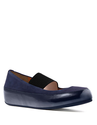 FITFLOP Due TM Nubuck and Patent Leather Platform Mary Janes