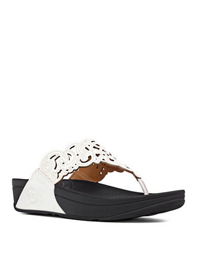 FITFLOPFlora TM Leather Thong Wedge Sandals