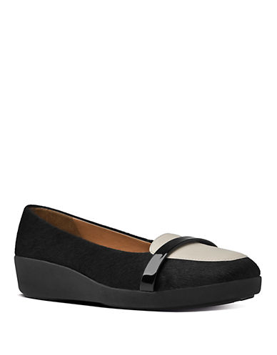 FITFLOP F-Pop Faux Fur and Leather Loafers