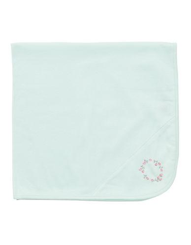 LITTLE MENewborn Girls 0-9 Months Rose Embroidered Tag-Along Blanket