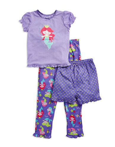 Little Me Mermaid Three-Piece Pajama Set