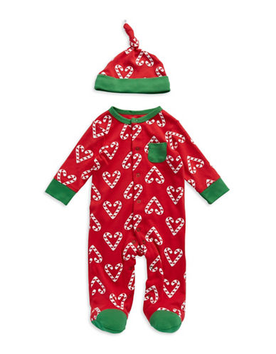 Christmas Candy Cane Footed Pajamas with Hat for Infants