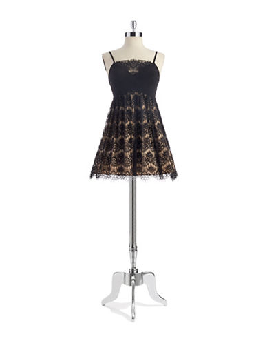 BETSY & ADAMLace Overlay Cocktail Dress