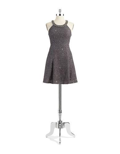 BETSY & ADAMSleeveless Illusion Dress