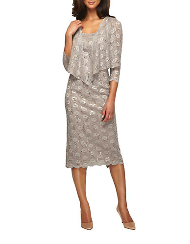 ALEX EVENINGS Plus Sequined Lace Sheath Dress With Jacket