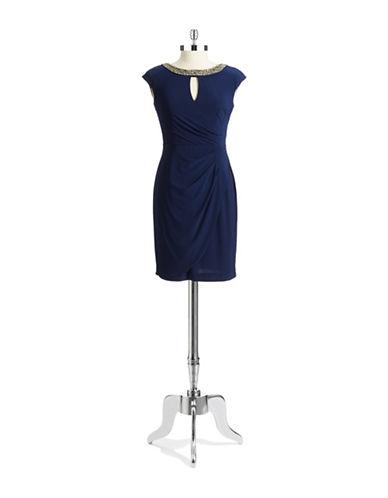 ALEX EVENINGSPetite Keyhole Dress with Embellished Neckline