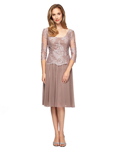 ALEX EVENINGS Plus Lace Bodice Short Mock Dress