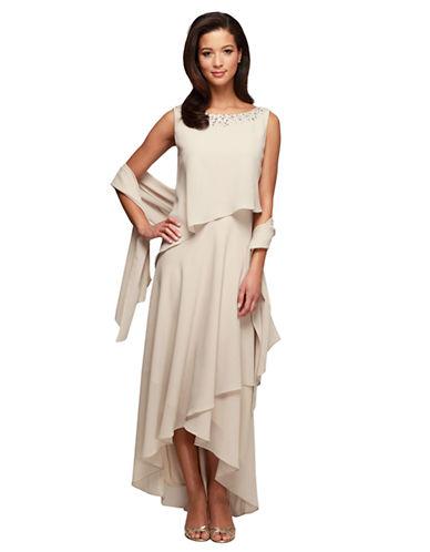 ALEX EVENINGSAsymmetrical Pointed Hem Dress