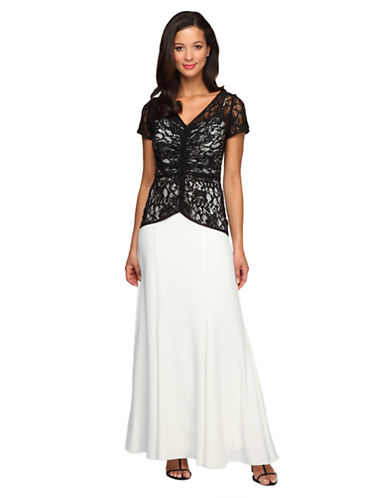 ALEX EVENINGSLace Bodice Fit and Flare Dress
