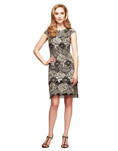 ALEX EVENINGSFloral Lace Sheath Dress