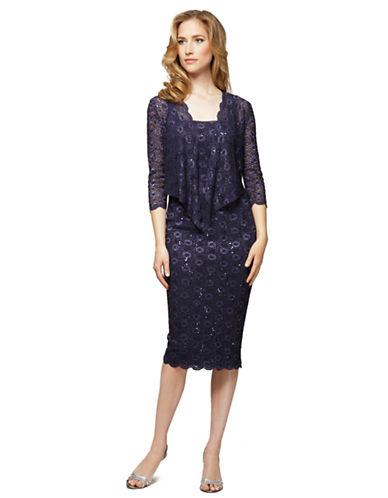 ALEX EVENINGSPlus Plus Sequined Lace Sheath Dress With Jacket