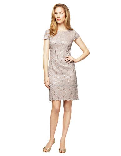 ALEX EVENINGSSequined Lace Shift Dress