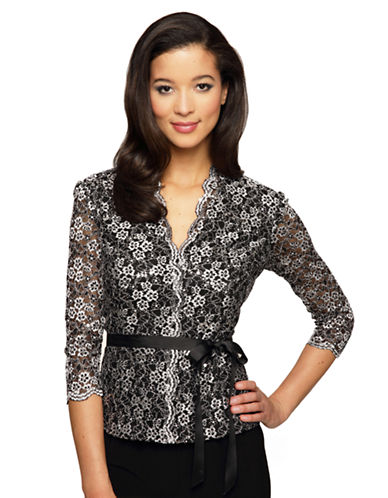 ALEX EVENINGS Graphic Floral Print Blouse with Tie Belt