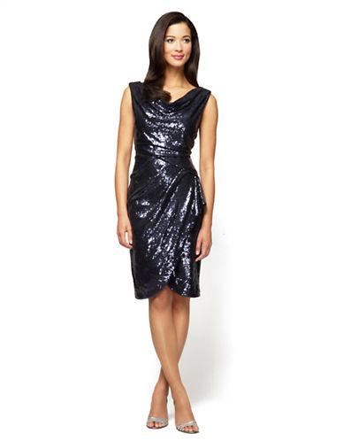 ALEX EVENINGSPetite Sequined Pleated Drape Dress